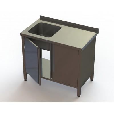 Ванна моечная 1 секционная BM1L с дверьми RestoArt 1500х600х850